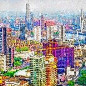 Panorama du centre-ville de Rotterdam sur Frans Blok