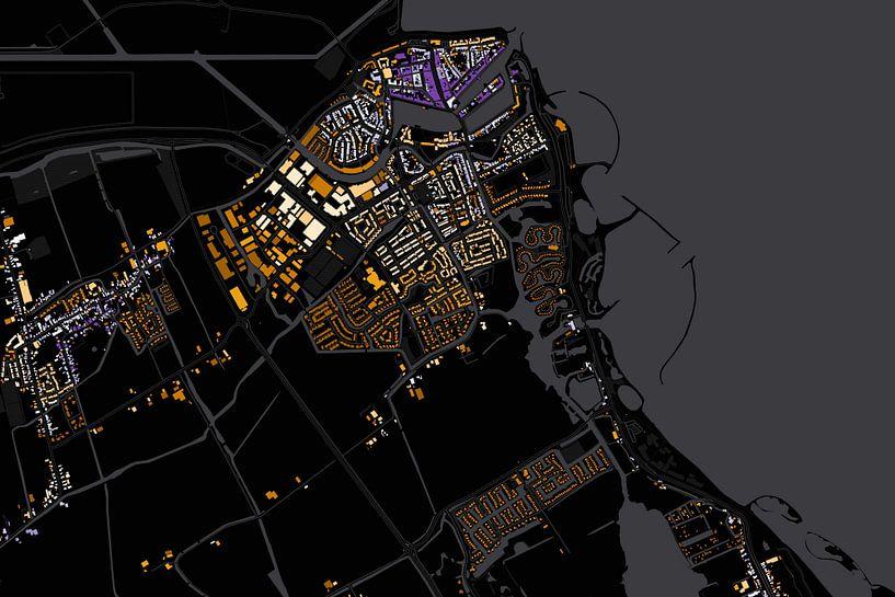 Kaart van Medemblik abstract van Stef Verdonk