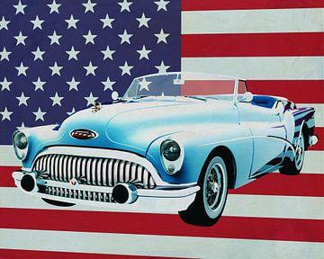 Buick Skylark Convertible 1956 met vlag van de V.S.