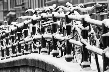 Besneeuwde fietsen van Tom Elst
