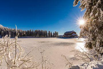 Mummelsee mit dem Berghotel im Winter von Werner Dieterich