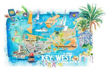 Key West Florida geïllustreerde reiskaart met straten en hoogtepunten van Markus Bleichner