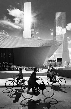 Rotterdamer Hauptbahnhof in schwarz-weiß von Remco-Daniël Gielen Photography