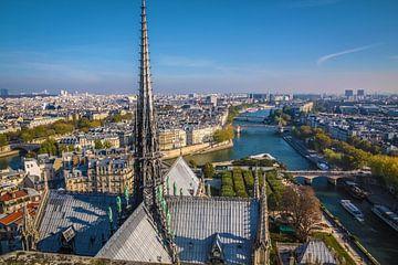 Blick von der Kathedrale Notre Dame auf die Seine, Paris von Christian Müringer