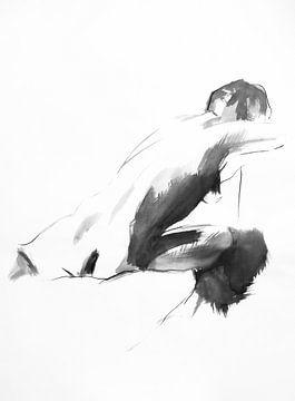 Zittend naakt zwart wit van Anny Body