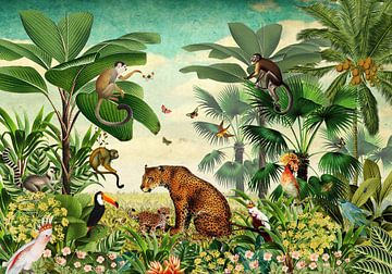 Jungle met luipaard, apen, toekan en tropische vogels von Studio POPPY