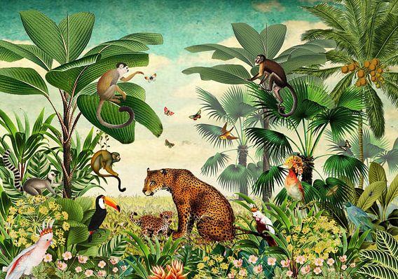 Jungle met luipaard, apen, toekan en tropische vogels