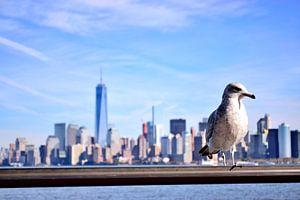 New York Skyline Manhattan met Meeuw van Maurice Gort