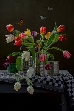 Stilleben 'Tulpen in der Dose von Willy Sengers