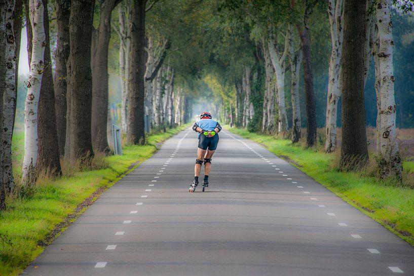 Skeeler op een landweg tussen de bomen van Harrie Muis