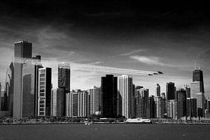 Chicago skyline with the Blue Angels von Angelique Faber