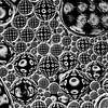 orde in de chaos (zwart-wit stippen in bubbels) van Marjolijn van den Berg thumbnail
