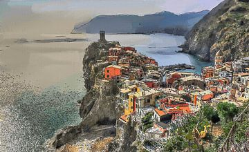 Vernazza Cinque Terre Italië - Cartoon Schilderij