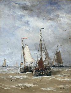 Bomschuiten op zee - Schilderij Mesdag