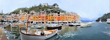 Panorama Portofino Italië - Cartoon Schilderij