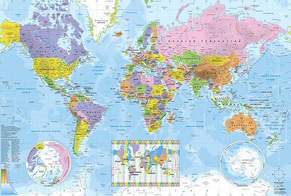 Wereldkaart met tijdzones van MAPOM Geoatlas