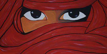 verschleierte Frau in rot van Babetts Bildergalerie