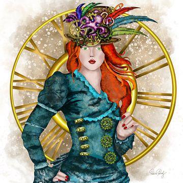 Steampunk - Victoriaanse Dame met hoed van Patricia Piotrak