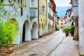 Malerische Laubengasse in Egna (Neumarkt) von Gisela Scheffbuch