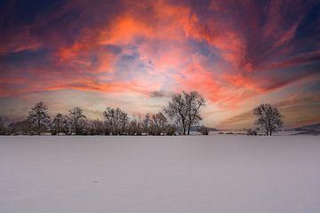 Winterzauber im Abendrot von Michael Nägele