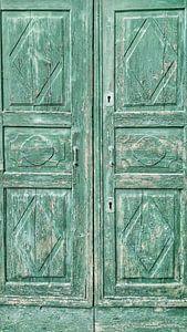 Alte Tür in der Farbe grün von Gonnie van Hove