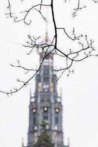 Toren van de Grote Sint Bavokerk in Haarlem, Nederland van Simone Neeling