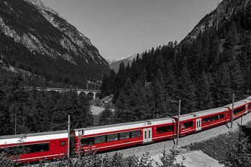 Rood treintje in Zwitserland van Sasja van der Grinten