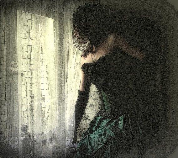 meisje met haar groene jurk (vintage)