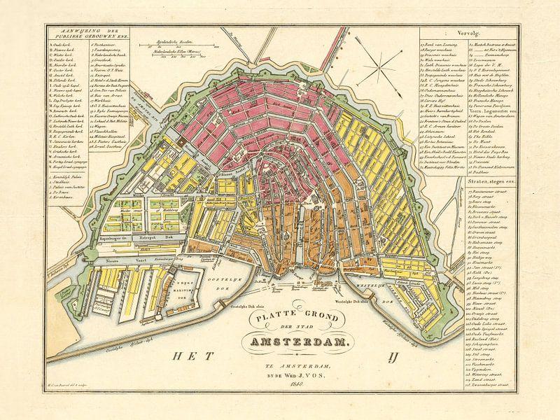 Karte Amsterdam - 1840 von Bibliotheek Beeld