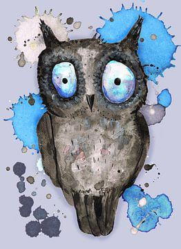 Blauw Oog uil van Bianca Wisseloo
