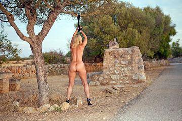 Junge hübsche Frau nackt an einen Baum gebunden (eine BDSM-Szene) von Vincent van Thom