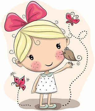 Süßes Mädchen mit einem Vogel auf der Hand und zwei Schmetterlingen