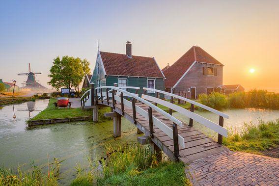 Sunrise at Zaanse Schans in the Netherlands