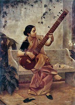 Ravi Verma, Music Hath Charms (Kadambari) - Raja Ravi Varma, ca 1890 von Atelier Liesjes
