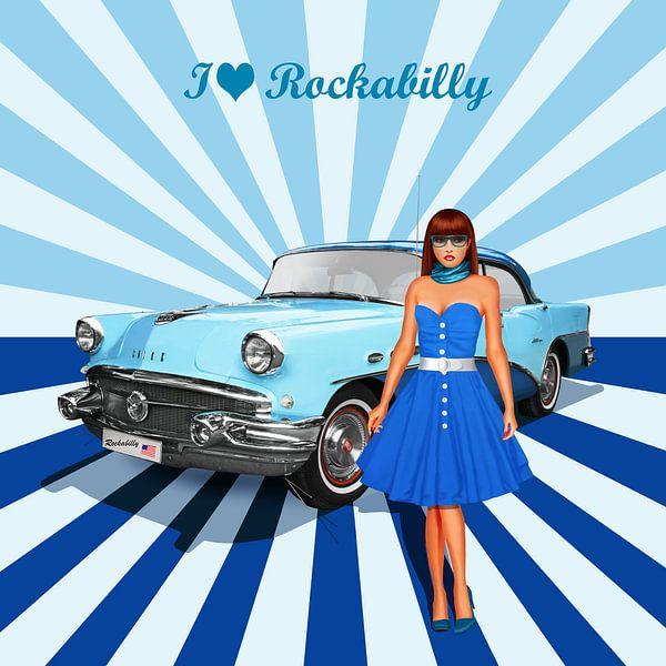 Ik hou van rockabilly versie 2 in Blue van Monika Jüngling