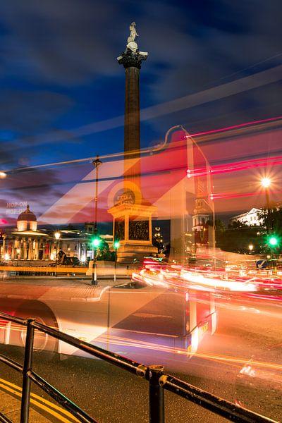 Lange sluitertijd op Trafalgar Square van Mirjam Boerhoop - Oudenaarden