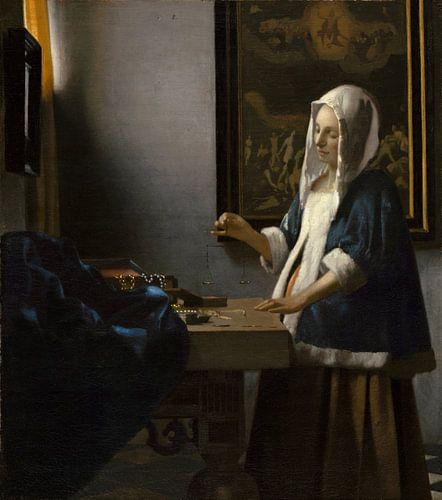 Johannes Vermeer.  Vrouw met weegschaal