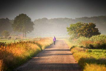 Wanderer in der Landschaft bei Sonnenaufgang von Henk van den Brink