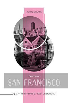 Poster Art SAN FRANCISCO Alamo Square | pink sur Melanie Viola