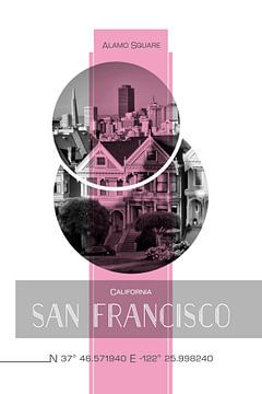 Poster Art SAN FRANCISCO Alamo Square | pink van Melanie Viola