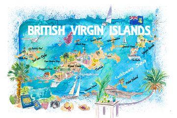 Geïllustreerde reiskaart van de Britse Maagdeneilanden met wegen en hoogtepunten van Markus Bleichner