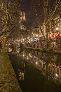 Domtoren, Oudegracht  en Gaardbrug in Utrecht in de avond van Tux Photography