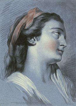 Kopf einer jungen Frau, Jean François Janinet, 1762 - 1814 von Atelier Liesjes