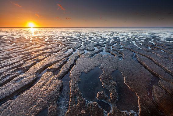 Eb en zonsondergang bij Moddergat van Ron Buist