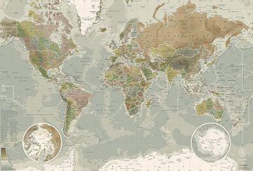 Wereldkaart, in ouderwetse kleuren