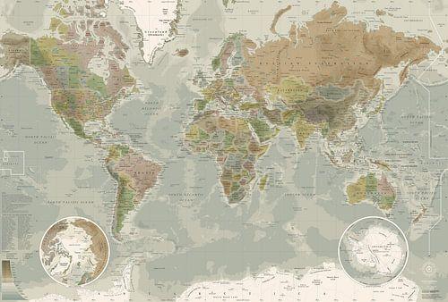 Wereldkaart, in ouderwetse kleuren van