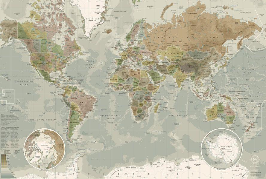 Wereldkaart, in ouderwetse kleuren van MAPOM Geoatlas