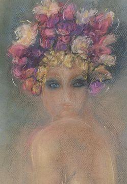 Frau mit einem Kopfschmuck von Sommerblumen. von Ineke de Rijk