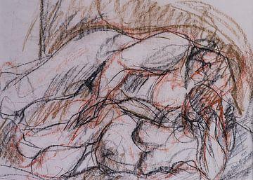 Aktstudien, Skizze, Studium von Aktmodellen in Paris de Conté von Paul Nieuwendijk