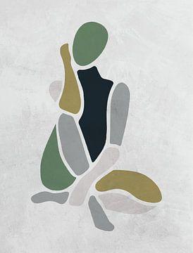Modell / Frau sitzend grün/grau